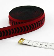 Soft Woven Elastic 25mm Red Black Chevrons